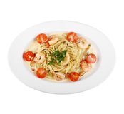 Pasta with seafood, plate (white background). Pasta with seafood, on a plate on white background Stock Photos