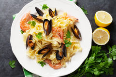 Pasta with seafood Stock Photography
