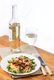 Pasta with seafoods and white wine on napkin Royalty Free Stock Photo