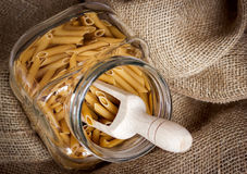 Pasta selection in a glass bowl. Italian style cooking, retail concept royalty free stock photo