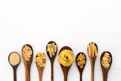 Pasta selection of penne, gnocci, rigatoni, casarecce, fiorelli, pasta Farfalle, pasta A stock image