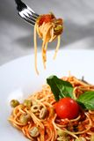 Pasta served. Delicious tasty pasta served Royalty Free Stock Photography