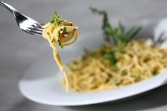 Pasta served. Delicious tasty pasta served Stock Photos
