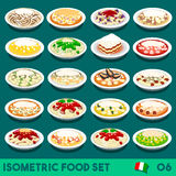 Pasta Set 06 Food Isometric. Pasta COMPLETE Collection. NEW lively palette 3D Flat Vector Icon Set of Italian Menu. Italian Pasta Salad Recipes Carbonara Chicken Royalty Free Stock Image