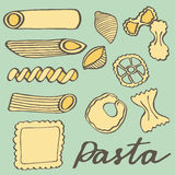 Pasta set. Hand-drawn cartoon kinds of pasta. Doodle drawing. Royalty Free Stock Image