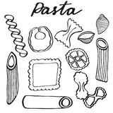 Pasta set. Hand-drawn cartoon kinds of pasta. Doodle drawing. Royalty Free Stock Images