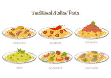 Pasta set. Italian pasta set. Traditional sauce and spaghetti. Vector hand drawn food Royalty Free Stock Image