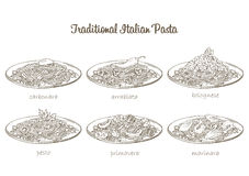 Pasta set. Italian pasta set. Traditional sauce and spaghetti. Vector hand drawn food Stock Image