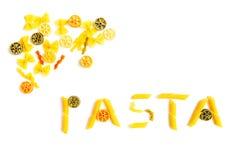 pasta shapes ord arkivfoton