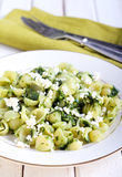 Pasta shell with homemade pesto Royalty Free Stock Images