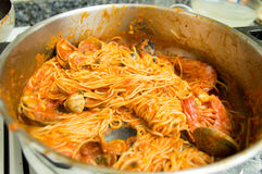 Pasta with shellfish prepared to serve Royalty Free Stock Photography