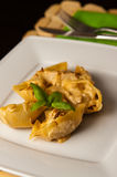 Pasta shells conchiglioni stuffed with meat Stock Photos