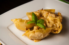 Pasta shells conchiglioni stuffed with meat Stock Photography