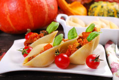 Pasta shells stuffed with minced meat , pumpkin and zucchini Royalty Free Stock Photography