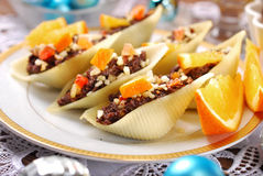 Pasta shells stuffed with poppy seeds for christmas Stock Photography