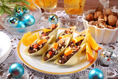 Pasta shells stuffed with poppy seeds for christmas Stock Photo