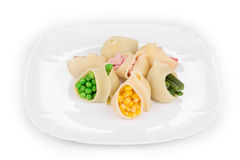 Pasta shells stuffed with vegetables Royalty Free Stock Photos