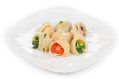 Pasta shells stuffed with vegetables Royalty Free Stock Image