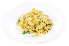 Pasta shells with vegetables Stock Photography