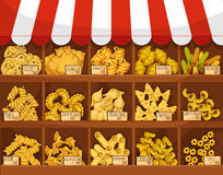 Pasta shop or market vector display stand stall Stock Photography