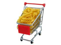 Pasta in a Shopping Trolly Royalty Free Stock Photography