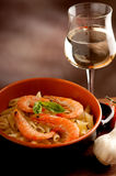 pasta with shrimp Royalty Free Stock Photo