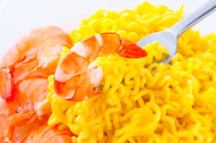 Pasta and shrimp Royalty Free Stock Photography