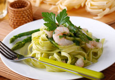 Pasta with shrimp Stock Photo