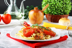 Pasta with shrimp, fresh tomatoes and parsley Stock Images