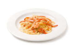 Pasta with shrimp Stock Images