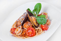 Pasta with shrimp and mussels. dish food Stock Photography