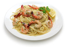 Pasta with shrimp scampi Stock Photos