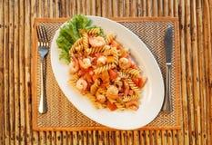 Pasta with shrimp and tomato Royalty Free Stock Photo