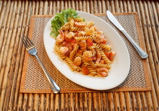 Pasta with shrimp and tomato Royalty Free Stock Image