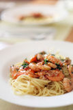 Pasta with Shrimp Royalty Free Stock Photography
