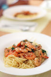 Pasta with Shrimp. Shrimp with pasta, tomato sauce and basil Royalty Free Stock Photos