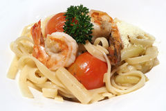 pasta with shrimp Stock Photography