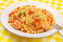 Pasta with shrimps Royalty Free Stock Images