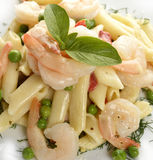 Pasta With Shrimps Royalty Free Stock Photos