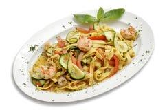 Pasta with shrimps Stock Photos