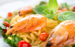 Pasta with shrimps close-up Royalty Free Stock Photography