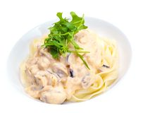 Pasta with shrimps, herbs and mashrooms Stock Photography