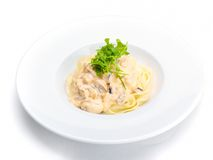 Pasta with shrimps, herbs and mashrooms Royalty Free Stock Photography