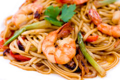 Pasta with shrimps, macro Royalty Free Stock Image