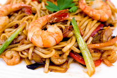 Pasta with shrimps, macro Royalty Free Stock Photos