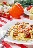Pasta with shrimps and mashrooms on the wooden table Royalty Free Stock Photo