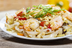 Pasta with shrimps and mushrooms Stock Image