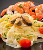 Pasta with shrimps, mussels Royalty Free Stock Photography