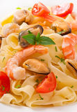 Pasta with shrimps, mussels Royalty Free Stock Photos