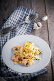 Pasta with shrimps Stock Images
